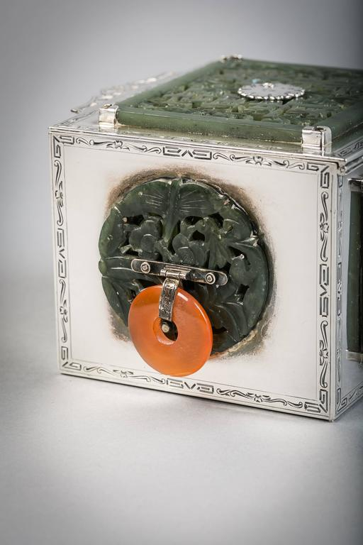 American Sterling Silver and Jade Box, Farmer, circa 1920 For Sale