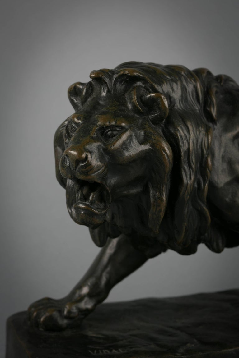 Mid-19th Century French Bronze Figure of a Striding Lion, circa 1860 For Sale