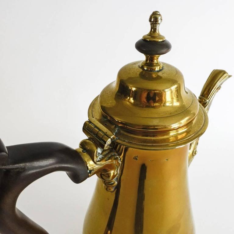 """Mid-18th Century Exceptional Brass """"Silver Form"""" English Coffee Pot with Pseudo Marks, 1755 For Sale"""