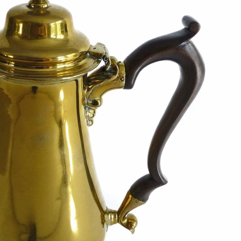 """Exceptional Brass """"Silver Form"""" English Coffee Pot with Pseudo Marks, 1755 For Sale 2"""