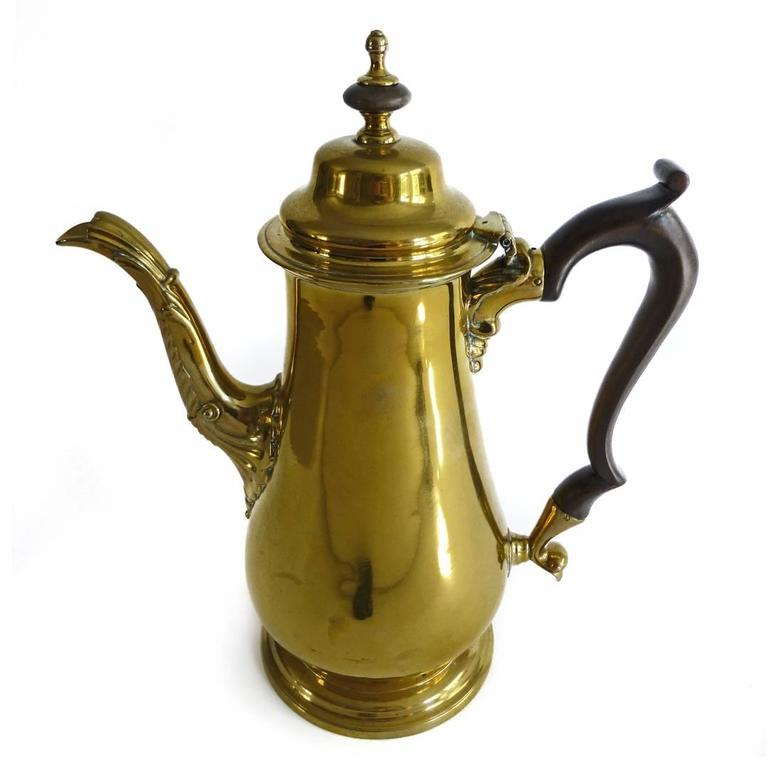 "Exceptional Brass ""Silver Form"" English Coffee Pot with Pseudo Marks, 1755 2"