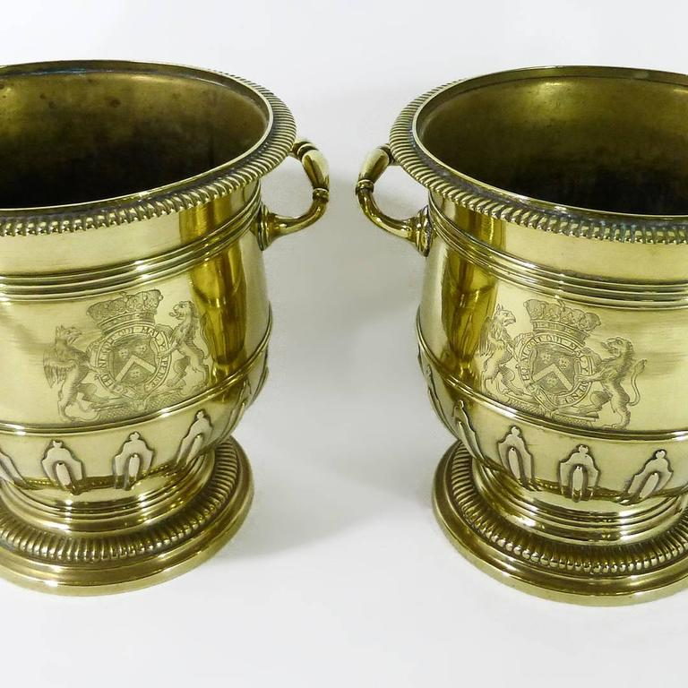 Pair of Brass Silver Form Huguenot Wine Buckets, circa 1710 2
