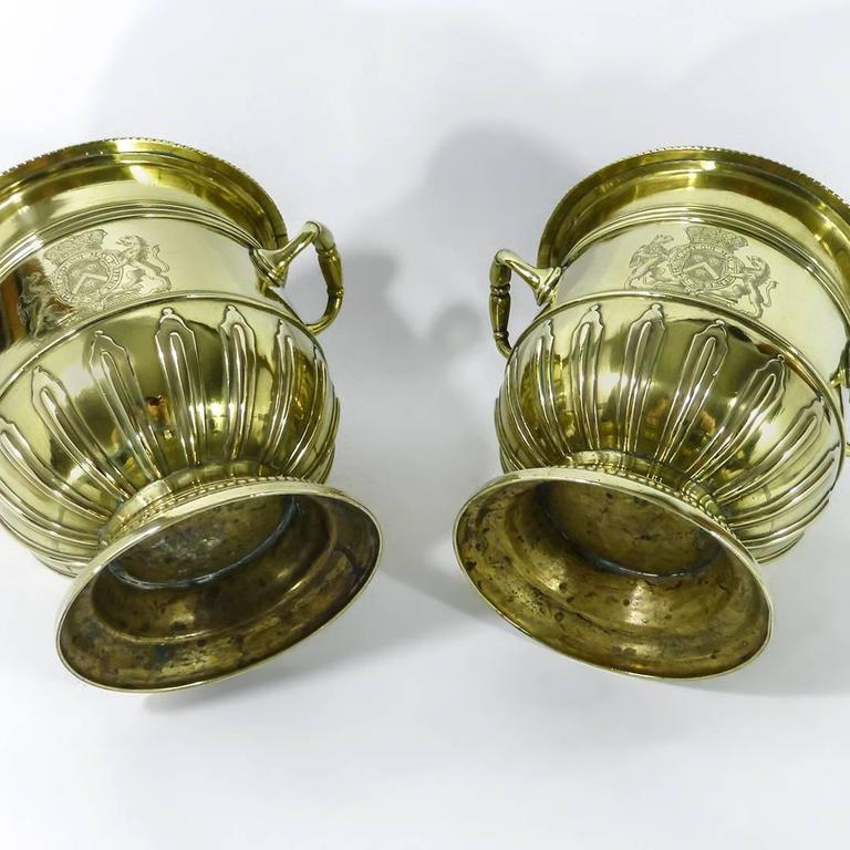Pair of Brass Silver Form Huguenot Wine Buckets, circa 1710 3