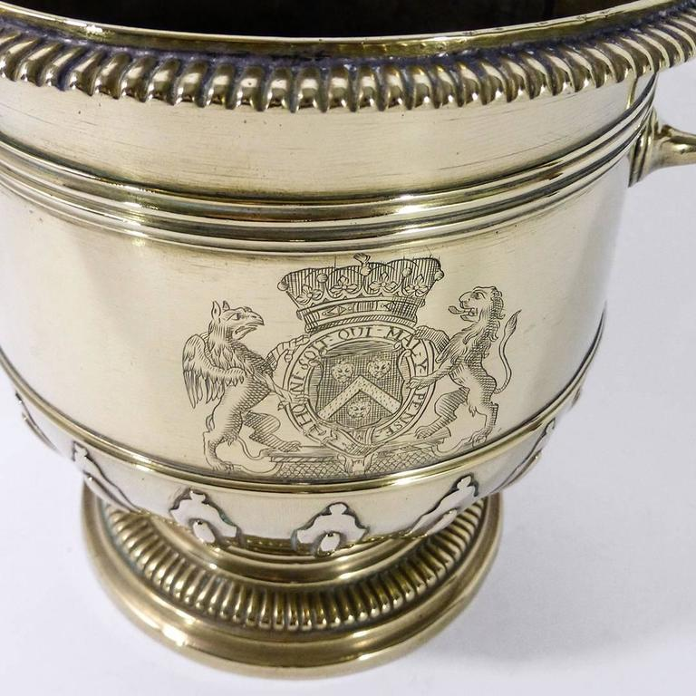 Pair of Brass Silver Form Huguenot Wine Buckets, circa 1710 7