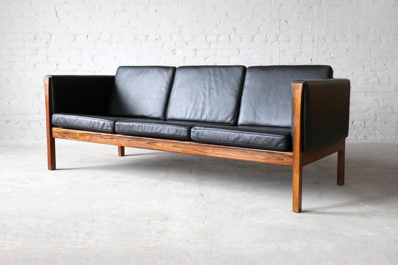 hans wegner ap63 3 ap stolen rosewood and leather sofa