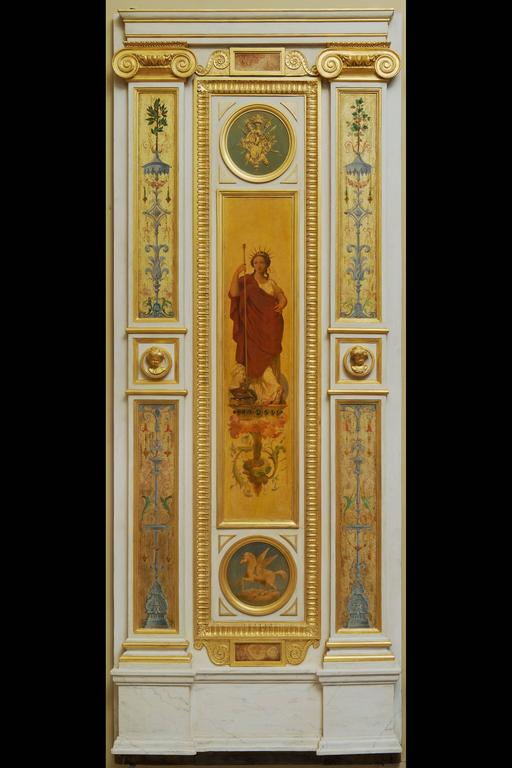 "This entire set of ""boiserie"" decoration is painted and gilded, told ""Aux Cinq Continents.""