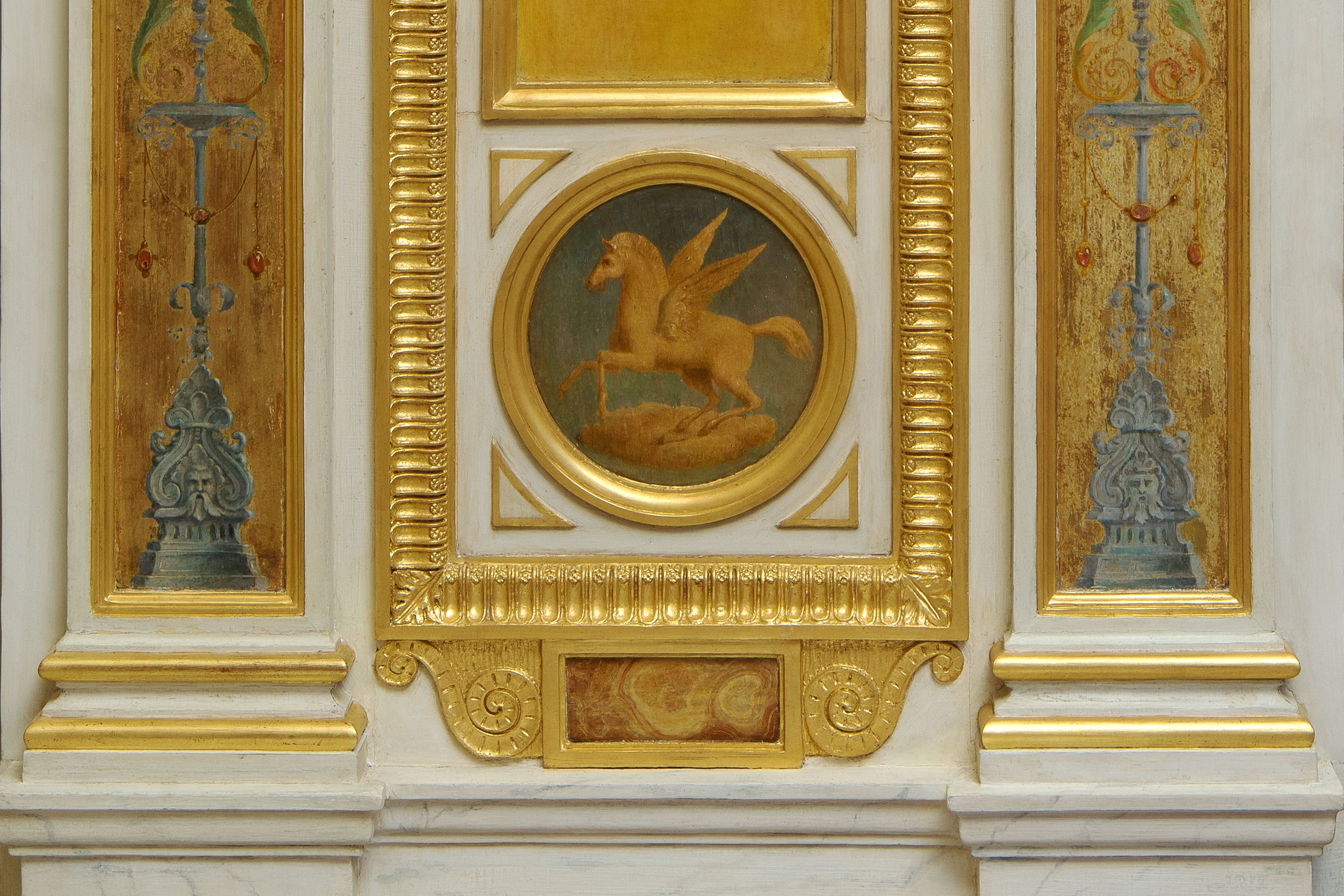Beautiful Wood Paneling Decoration Painted and Gilded, 19th Century ...