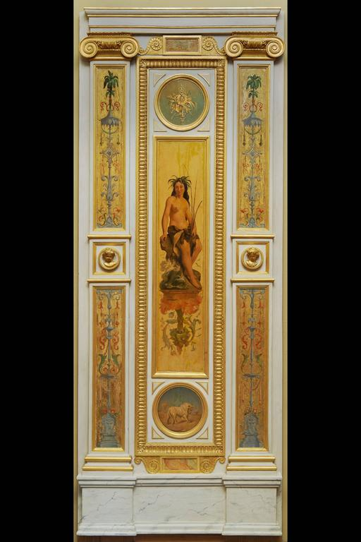 Beautiful Wood Paneling Decoration Painted and Gilded, 19th Century For Sale 1