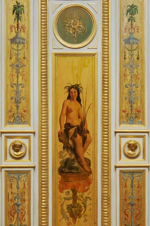 Beautiful Wood Paneling Decoration Painted and Gilded, 19th Century For Sale 2