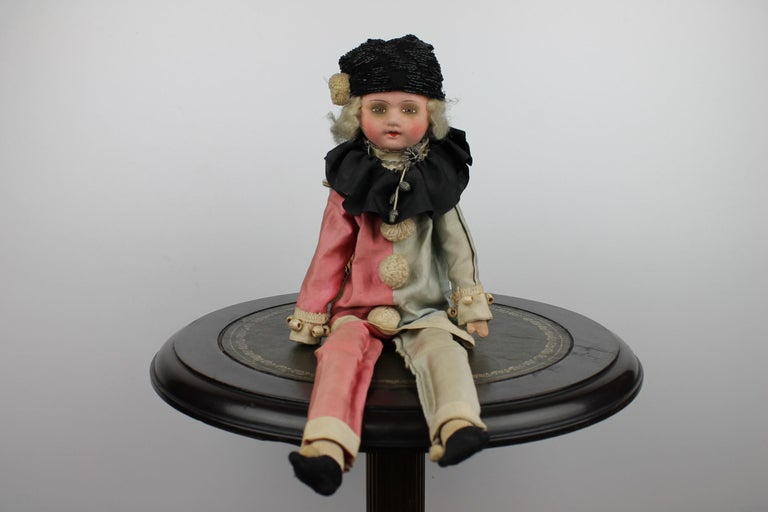 Antique French Boudoir Pierrot - Harlequin doll of the Art Deco period. 