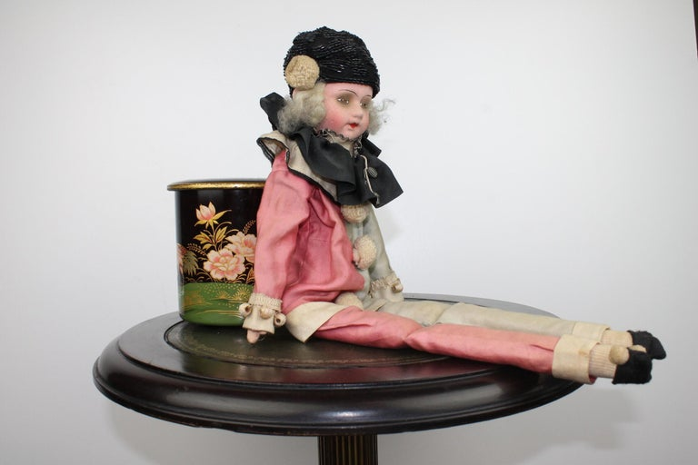 1920s French Boudoir Salon Harlequin Doll, Pierrot Doll For Sale 1