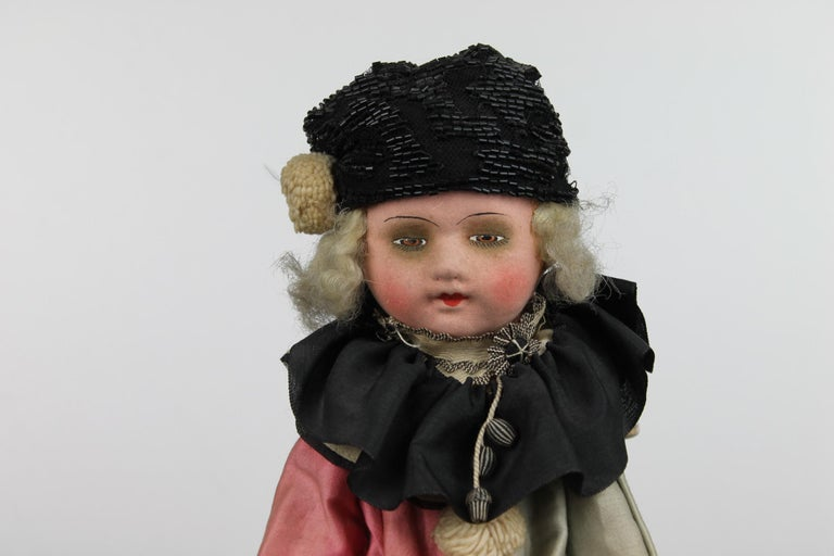 1920s French Boudoir Salon Harlequin Doll, Pierrot Doll For Sale 8