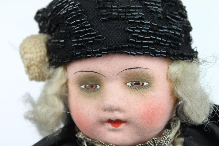 1920s French Boudoir Salon Harlequin Doll, Pierrot Doll For Sale 9