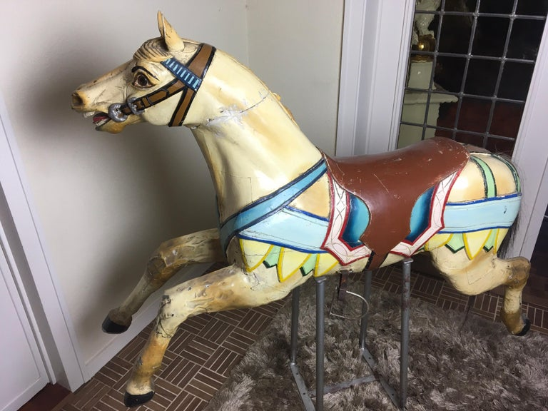 Early 20th Century Carved Wood Carousel Horse by Atelier J. Hübner Germany  For Sale 4