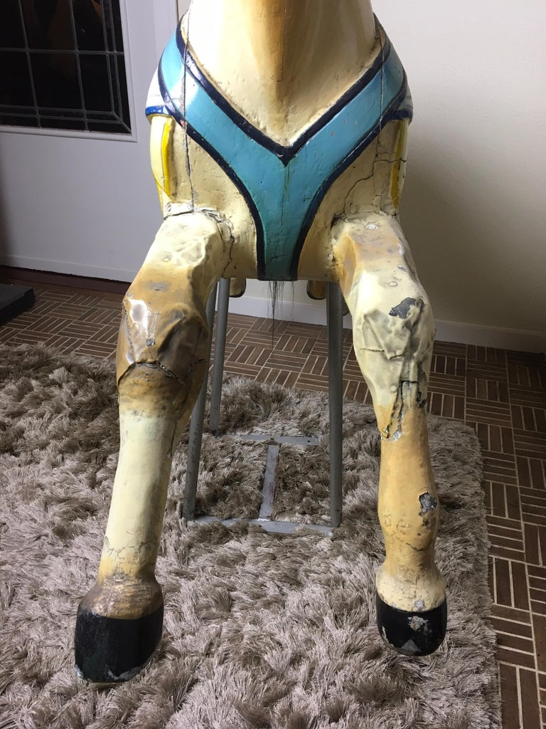 Early 20th Century Carved Wood Carousel Horse by Atelier J. Hübner Germany  For Sale 3