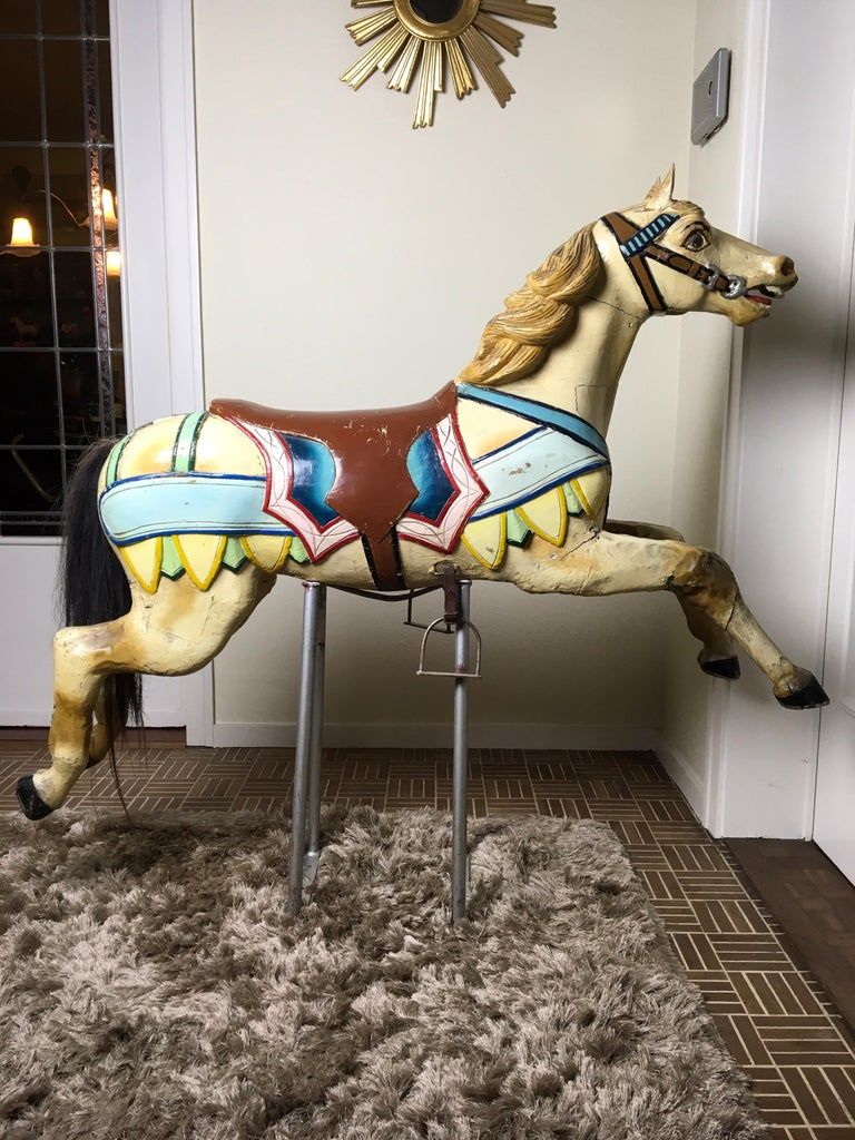 Early 20th Century Carved Wood Carousel Horse by Atelier J. Hübner Germany  For Sale 13