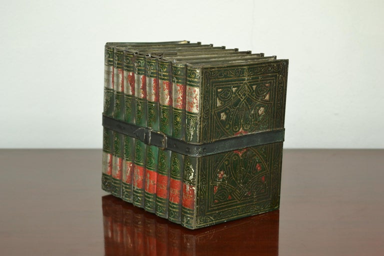 British Colonial 1903 Huntley and Palmers Tin Books Box by Sir Walter Scott For Sale