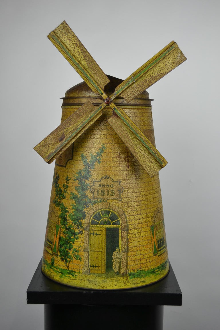 20th Century 1920s Van Melle's Toffees Tin - Antique Candy Box Holland - Dutch Windmill  For Sale