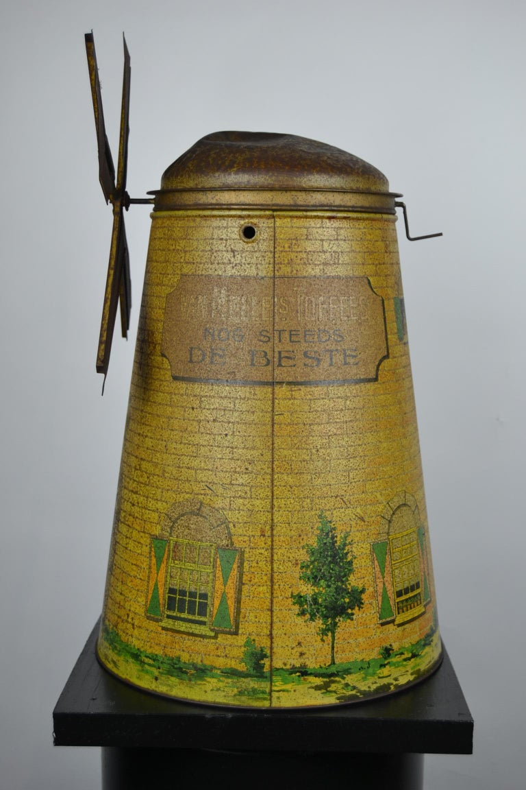 1920s Van Melle's Toffees Tin - Antique Candy Box Holland - Dutch Windmill  For Sale 2