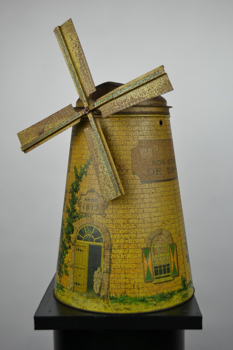 1920s Van Melle's Toffees Tin - Antique Candy Box Holland - Dutch Windmill  For Sale 10