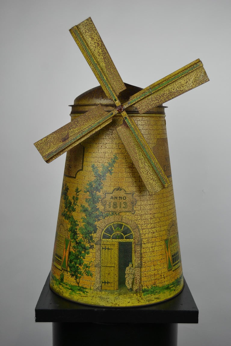 Art Nouveau 1920s Van Melle's Toffees Tin - Antique Candy Box Holland - Dutch Windmill  For Sale