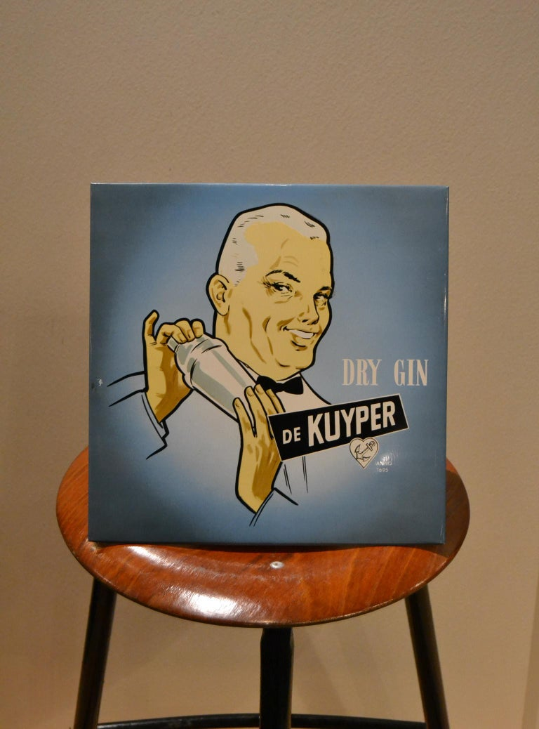 Vintage Dutch advertising display sign for Gin.
