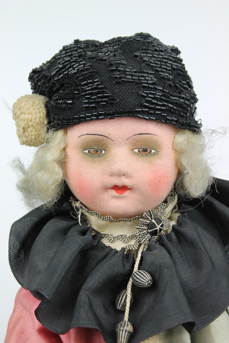 Art Nouveau 1920s French Boudoir Salon Harlequin Doll, Pierrot Doll For Sale
