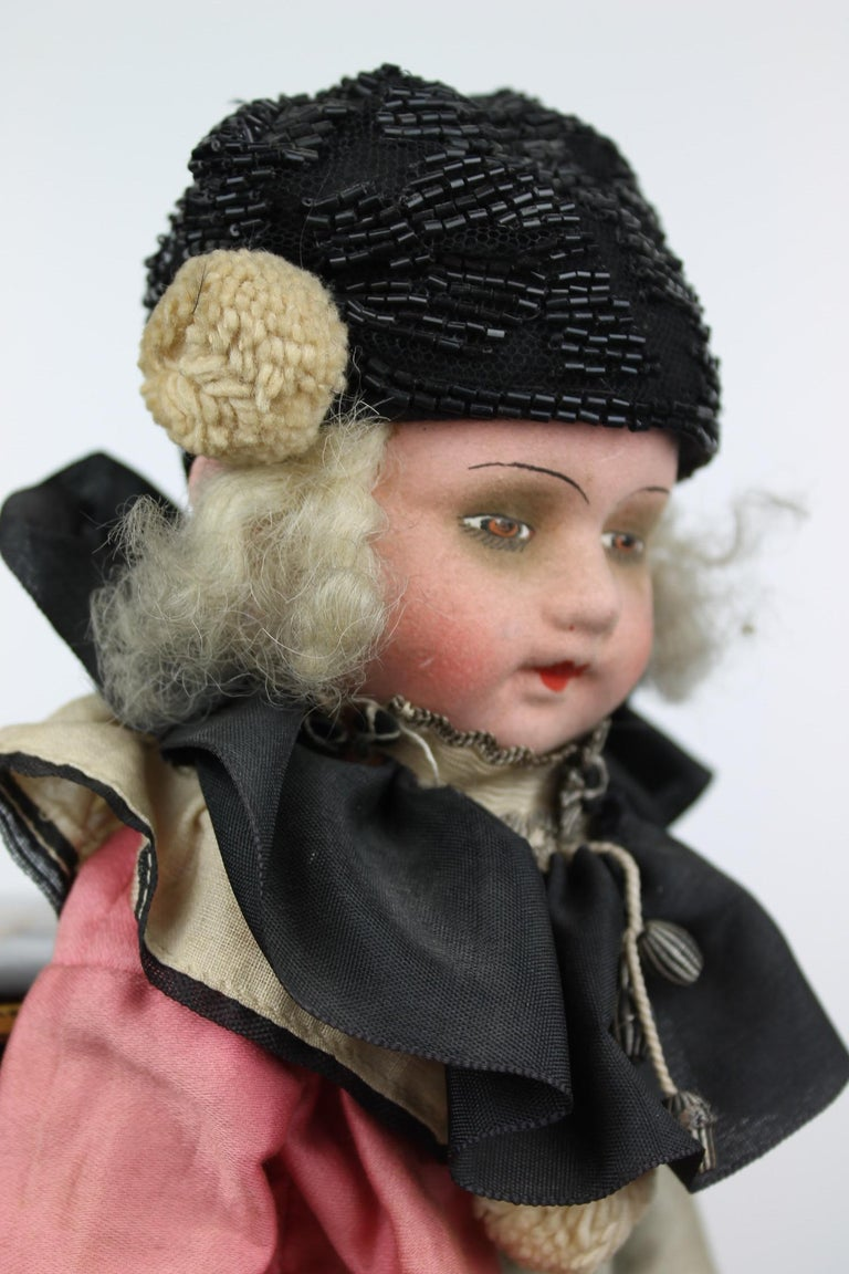 1920s French Boudoir Salon Harlequin Doll, Pierrot Doll For Sale 2