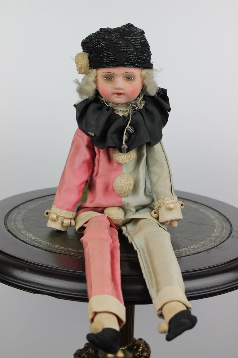 1920s French Boudoir Salon Harlequin Doll, Pierrot Doll For Sale 7