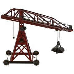 1920s Bing Toys Large Heavy Metal  Building Crane, Bing Brothers Germany
