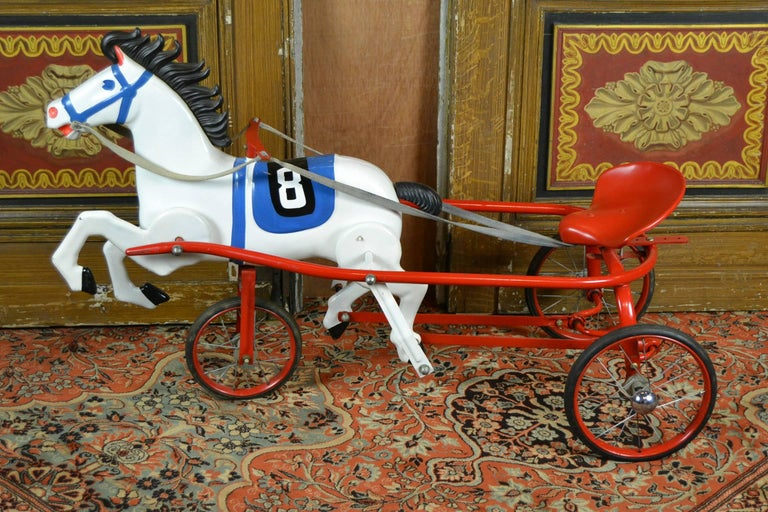 Vintage Soviet Tricycle Pedal Car Horse Toy, 1950s 2