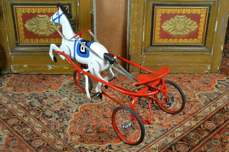 Vintage Soviet Tricycle Pedal Car Horse Toy, 1950s 3
