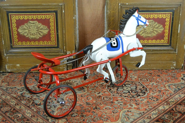 Vintage Soviet Tricycle Pedal Car Horse Toy, 1950s 4