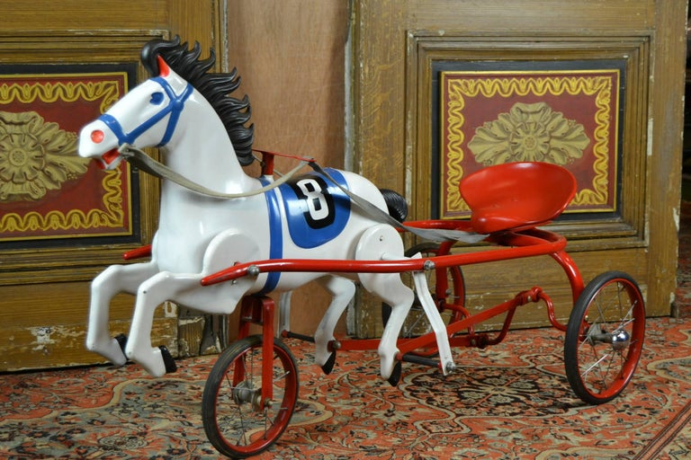 Vintage Soviet Tricycle Pedal Car Horse Toy, 1950s 9
