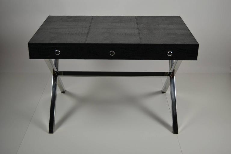 Stylish Desk stylish andrew martin's black crocodile leather desk at 1stdibs