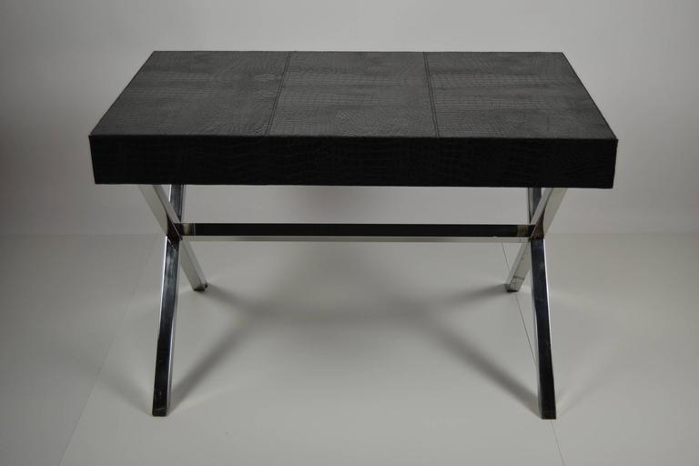 Stylish Andrew Martin's Black Crocodile Leather Desk At