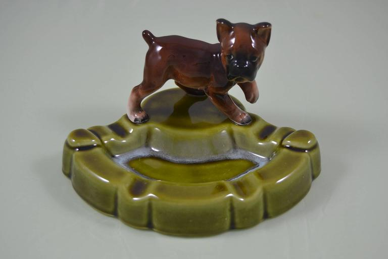 Green Porcelain Ashtray with Dog , Japan , Mid-20th Century  For Sale 3