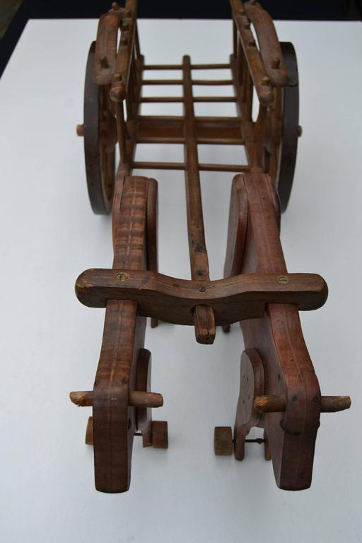 20th Century 1930s  French Wooden Pull Toy Oxcart by Déjou  For Sale