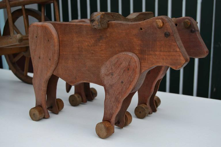 Art Deco 1930s  French Wooden Pull Toy Oxcart by Déjou  For Sale