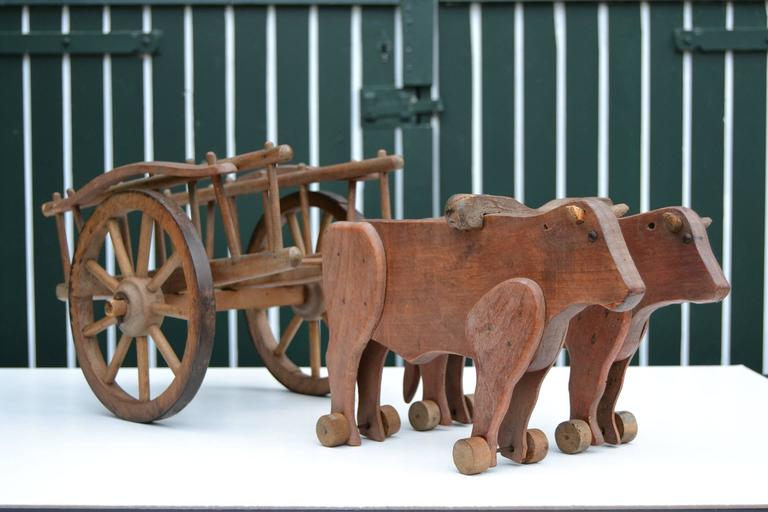 Oak 1930s  French Wooden Pull Toy Oxcart by Déjou  For Sale