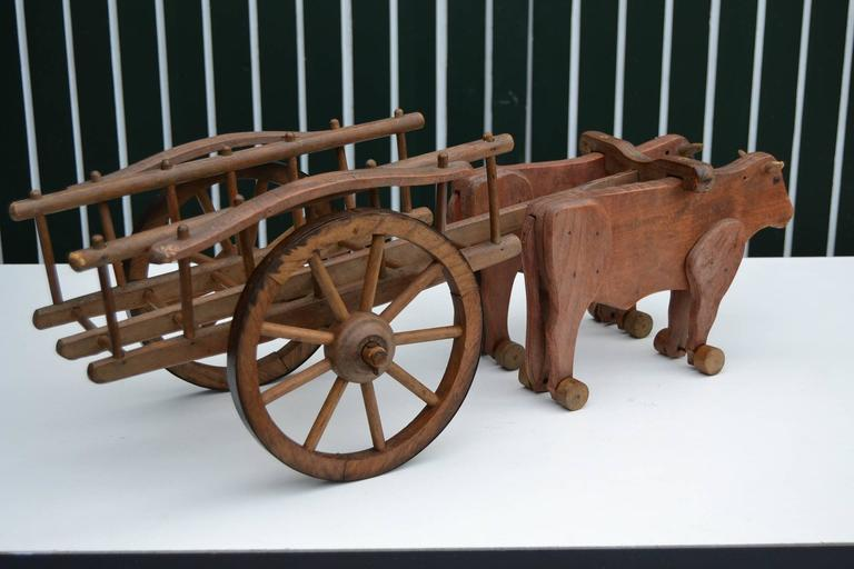 1930s  French Wooden Pull Toy Oxcart by Déjou  For Sale 1