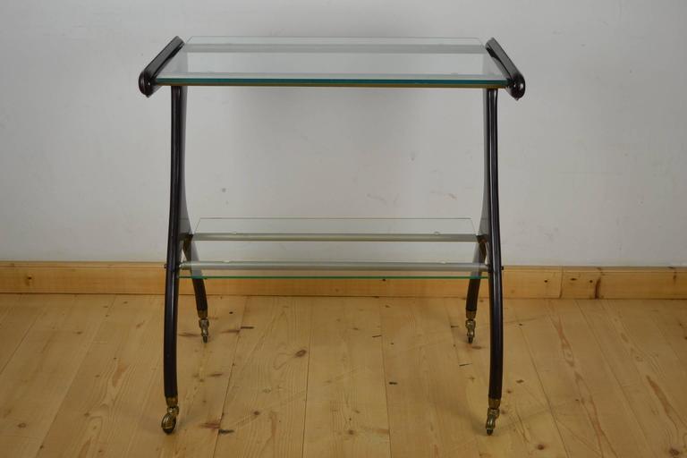 Italian Carlo Mollino style Drinks Trolley, Side Table