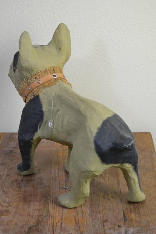 Leather Vintage Papier Mâché Bulldog Toy Dog  For Sale