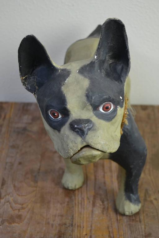 European Vintage Papier Mâché Bulldog Toy Dog  For Sale