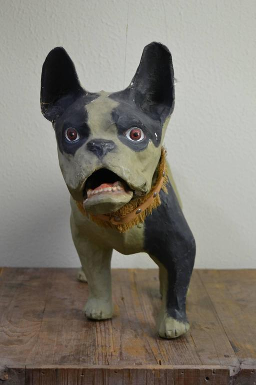 Vintage Papier Mâché Bulldog Toy Dog  In Good Condition For Sale In Antwerp, BE