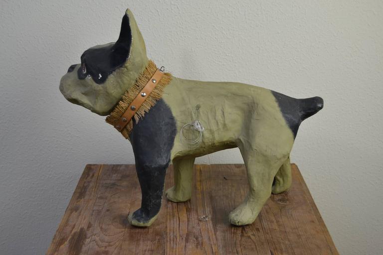 20th Century Vintage Papier Mâché Bulldog Toy Dog  For Sale