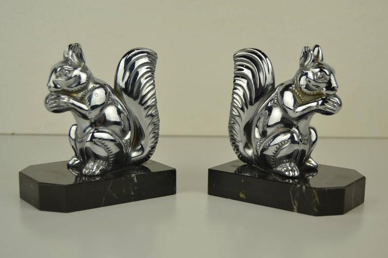European Art Deco Bookends with Chromed Squirrels on Marble Bases , Europe , 1930s  For Sale