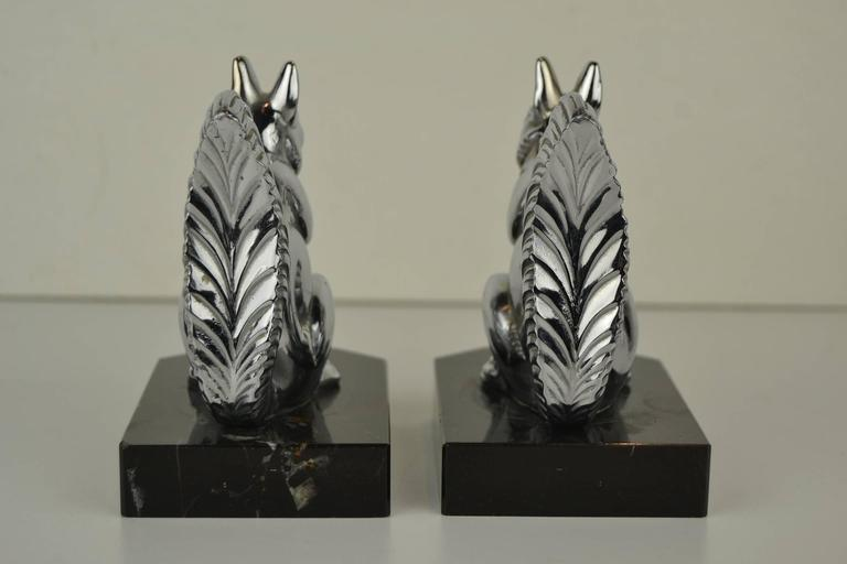 20th Century Art Deco Bookends with Chromed Squirrels on Marble Bases , Europe , 1930s  For Sale