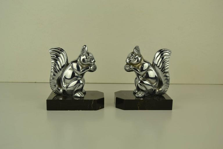 Art Deco Bookends with Chromed Squirrels on Marble Bases , Europe , 1930s  For Sale 4