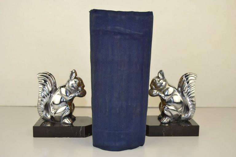 Art Deco Bookends with Chromed Squirrels on Marble Bases , Europe , 1930s  For Sale 2